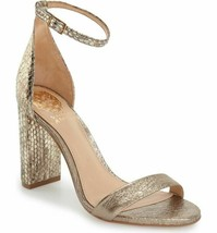 Vince Camuto Mairana Block Heeled Two Strap Sandals Gold Sz 8, 8.5 MRSP ... - $86.99