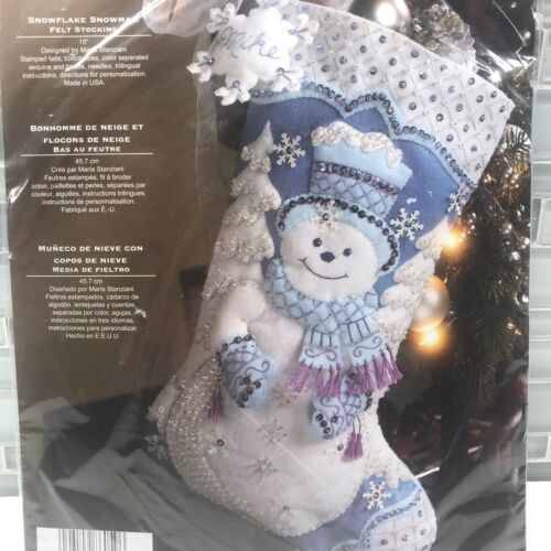 Primary image for Bucilla 86059 Snowflake Snowman Felt Appliqué Christmas Stocking Kit Stabziani