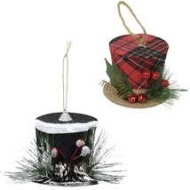 Christmas House Winter Hat Ornament 3.125x3.125x2.375-in Black Red w - $5.99