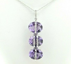 14k Gold Pendant with Three Oval Checkerboard Genuine Natural Amethysts (#J612) - $995.00