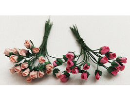 Mulberry Paper Flowers, Rosebuds, Miscellaneous Colors, 4mm, 73 Count image 1