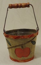 Apple Pail Planter Wood 5x4in Plastic Liner - $9.77