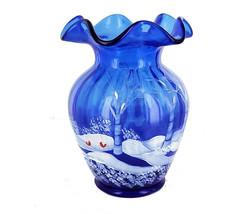 Vintage Fenton 100th Anniversary HP Bird Winter Scene Forest Cobalt Blue... - $119.69