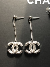 100% AUTH CHANEL 2018 XL CC Logo Crystal Dangle Drop Earrings Silver