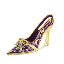 Non Metal Bejeweled Crystal Enameled Purple High Heel Card Holder (Lengt... - $26.32