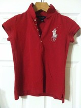 RALPH LAUREN TEENAGE GIRLS PRE-OWNED RED 100%COTTON POLO SHIRT SIZE:L(12... - $31.32