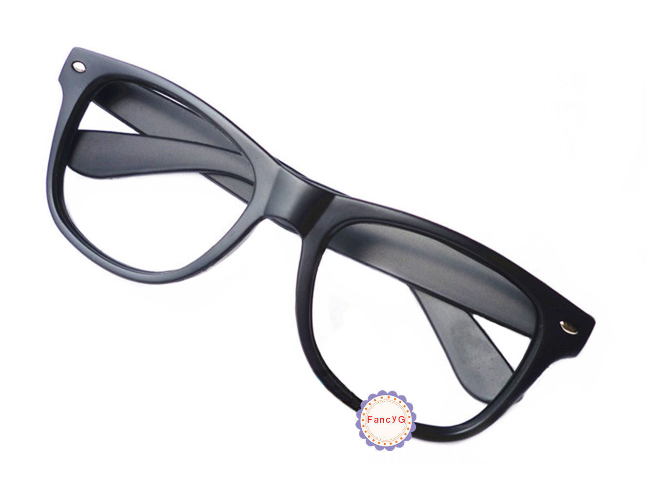 Matte Black Retro Classic Fashion Glasses Frame Unisex Eyewear No Lens