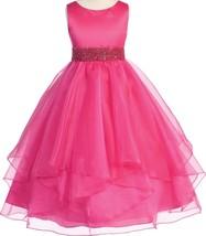 Flower Girl Dress Asymmetric Ruffles Satin & Organza Fuchsia CB 302 - $45.99