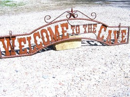 Metal Welcome to the CAVE Sign Wall Entry Gate bz - $124.98