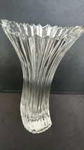 "Mikasa Diamond Fire Lead Crystal Curved Vase Fluted Ribbed - 8"" Tall - $19.99"