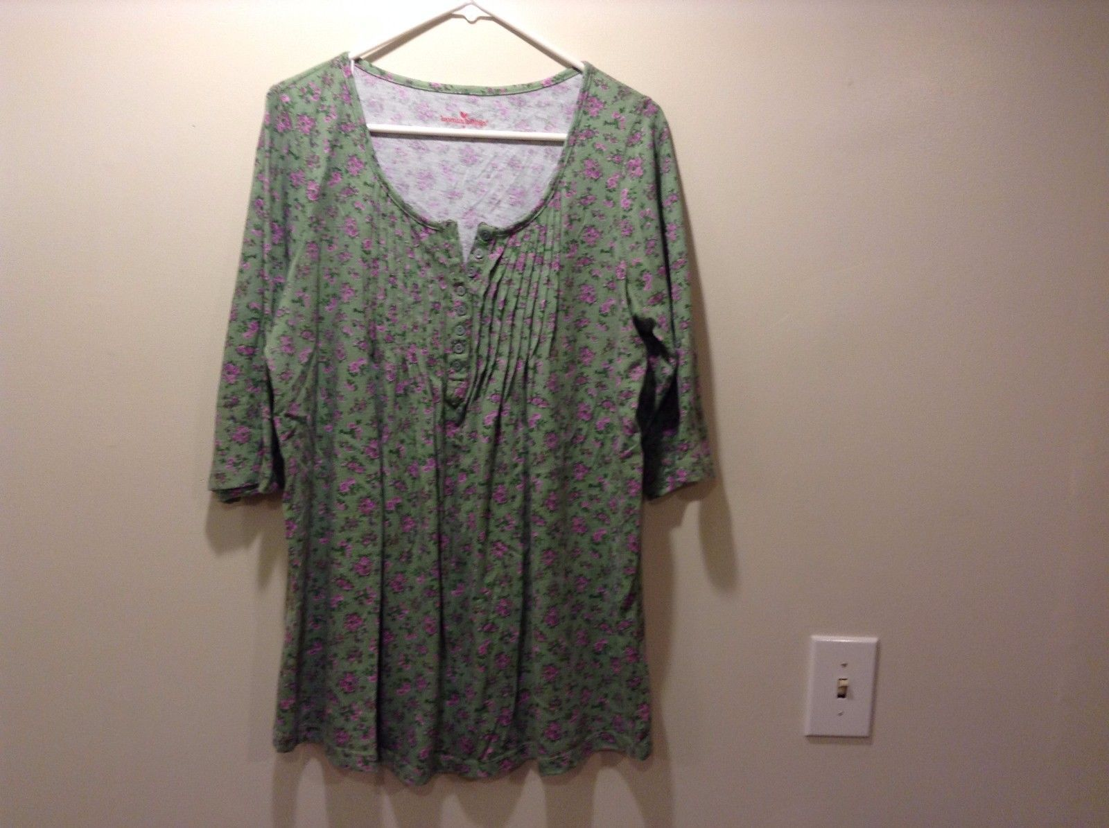 Woman Within Green w Pink Floral Design Dress or Blouse Sz M