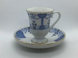 1984 AVON PORCELAIN TEA CUP &SAUCER FINE COLLECTIBLES EUROPEAN DESIGN BL... - $17.95