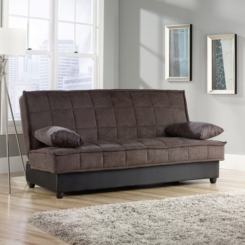 Convertible Comfy Sofa, Chocolate Microsuede. This Sleeper Sofa Is Perfect For G