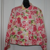 Coldwater Creek Jacket Coat Womens Medium Hearts Floral Pink Red Yellow - $6.89