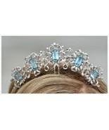 Royal Wedding Natural Rose Cut Diamond Sterling Silver Turquoise Tiara C... - $1,437.51