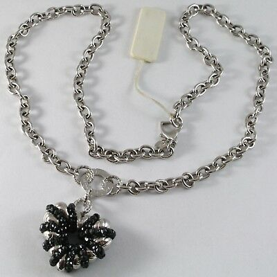 Necklace Silver 925, Rolo ' with Heart Pendant Milled and Spinel Black
