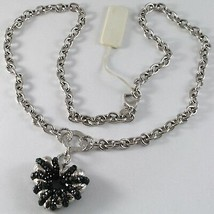 Necklace Silver 925, Rolo ' with Heart Pendant Milled and Spinel Black image 1