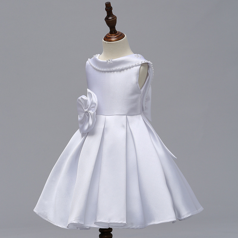 Primary image for White  Satin Short Flower Girl Dress Scoop Kids Evening Gowns 2019 Newly Kids