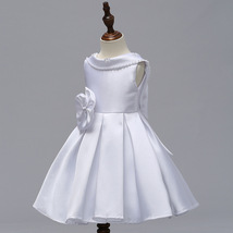 White  Satin Short Flower Girl Dress Scoop Kids Evening Gowns 2019 Newly Kids image 1