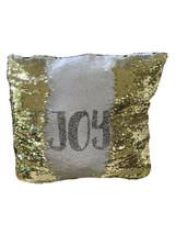 Sequin Throw Pillow Gold White Reversible Sparkle Glitter Joy Peace Holi... - $12.86