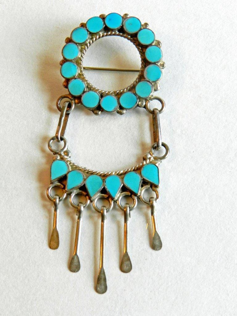 Primary image for Turquoise & Silver-Tone Native American-Made Brooch/Pin/Fashion Accessory
