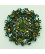 Vintage Weiss Green Blue Aurora Borealis Circle Brooch Pin Costume Jewelry - $34.64