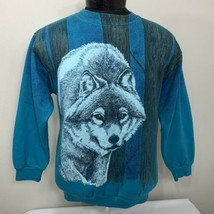Vintage Wolf Sweatshirt Crewneck 80s 90s Medium Made USA Wolves Nature A... - $29.99