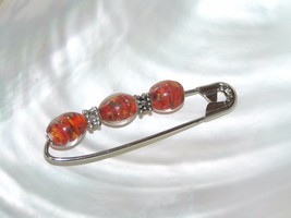 Handmade Large SIlvertone Safety Pin with Red Swirl Glass & Bumpy Beads ... - $8.59
