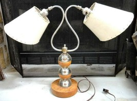 antique EAMES  DESK/TABLE LAMP, LEATHER-LIKE SHADES,GLASS POST,2 BULB~ W... - $175.00