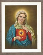 "Catholic Print Picture IMMACULATE HEART of MARY 6 1/2 x 8 1/4"" - $11.29"