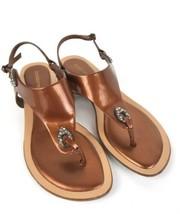 Liz Claiborne Women's Strap Thong Sandals Brown 8 M Macalah Leather Jeweled Flat - $23.73