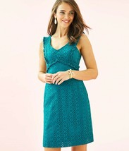 New Lilly Pulitzer Kaylee Shift Dress, MRSP $198, Teal Petite Petal Eyelet - $88.20