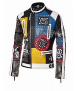 Handmade Men's Multicoloured Studded Embroidered Leather Jacket  - $249.99