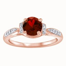 1.25 Ct Round Cut Garnet Solitaire W/Accents Engagement Ring 14k Rose Go... - $77.92