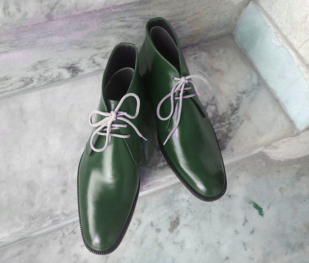 Handmade Men's Green Leather High Ankle Lace Up Boots
