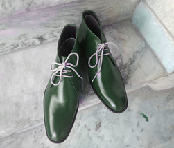 Handmade Men's Green Leather High Ankle Lace Up Boots image 1