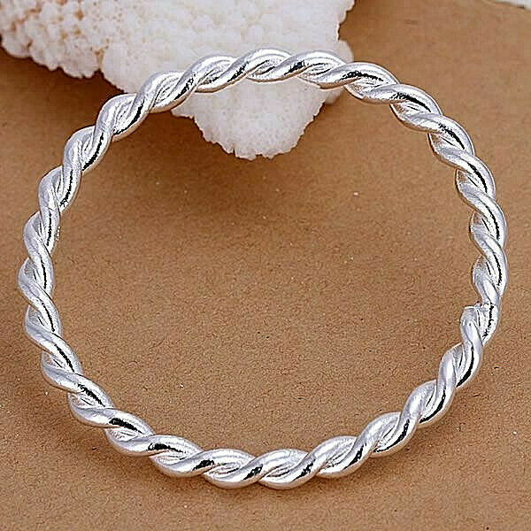 Primary image for Twisted Single Bangle Bracelet 925 Sterling Silver NEW