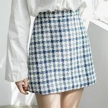 Spring Autumn Women Woolen Plaid Mini Skirts  High Waist One-step Short ... - $25.99