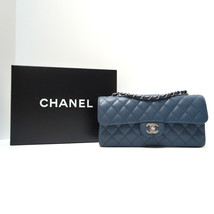 CHANEL SMALL E/W FLAP Bag, Dusty Blue Caviar Le... - $2,177.01