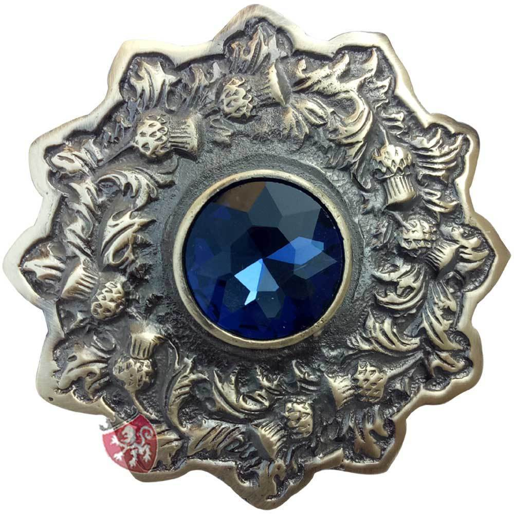 Scottish Kilt Fly Plaid Brooch Sky Blue Stone Chrome Finish 3//Highland Thistle Heritage Brooches