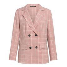 Women's Business Attire Pink Plaid Double Breasted Blazer Paint Suit image 5