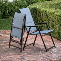 Outdoor Folding Chair Set of Two Blue Comfort Patio Garden Porch Dining ... - $65.49