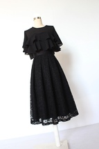 BLACK LACE A Line Midi Pleated Skirt Lady High Waisted Pleated Black Lace Skirt image 5