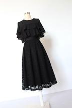 BLACK LACE A Line Midi Pleated Skirt Lady High Waisted Pleated Black Lace Skirt image 5