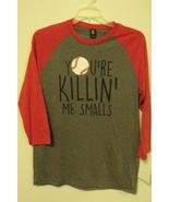 Mens NWT District Made Gray Red Your Killin Me Smalls Baseball T Shirt S... - $12.95