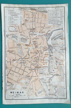 "1925 BAEDEKER MAP - WEIMAR Town Plan Germany 4"" x 6"" Good for Genealogy - $8.55"