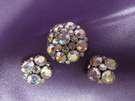 Vintage Weiss AB Crystal Rhinestone Silver Tone Brooch and Clip Earrings... - $94.05