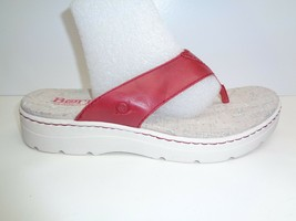Born Size 11 M BERMUDA Red Leather Thongs Platform Sandals New Womens Shoes - $76.44