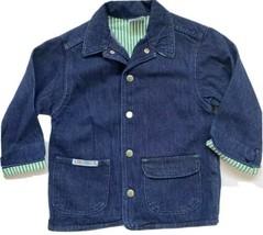 Vintage Little Levis Denim Jean Jacket Kids 5 6 Dark Blue 70s Striped Li... - $34.64