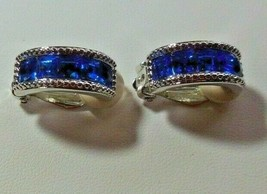 Signed Swarovski Crystal Studio Blue Crystal Half Hoop Clip-On Earrings - $55.00